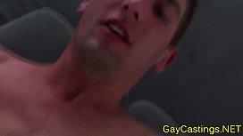 Muscled porn newbie blows...