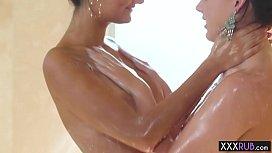 MILF brunette lesbian massage and fingering her friend