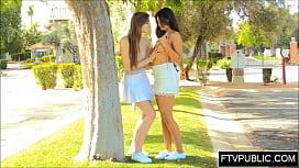 Mutual lesbian masturbation in public