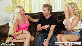Blondes Anikka Albrite and Mia Malkova fucking in threesome mexzoo