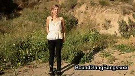 Tied up babe gangbanged...