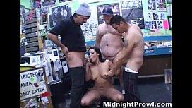 Busty Brunette gets fucked in sex shop