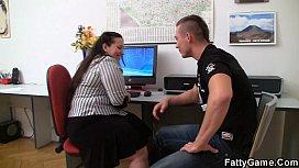 He bangs fat office...