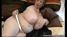 Fat granny Dagny with her big tits plays with vibrator ava adams