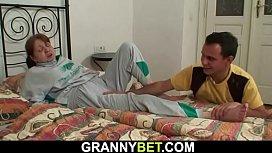 Younger dude helps injured big tits grandma