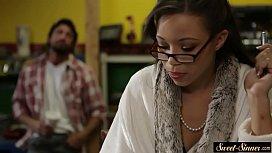 Ebony stepteen pounded by...