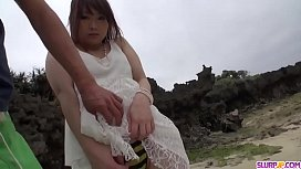 Adorable outdoor blowjob by...