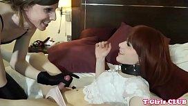 Dom twosome tgirl asslicking...