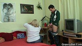 Huge granny tastes his...