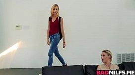 Blonde teen caught stepmom and her boyfriend fucking!