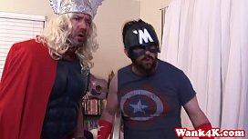 Superhero cosplay babe in...