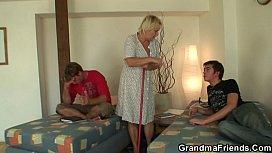 Old skinny granny takes...