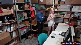 Petite blonde shoplifter gets...