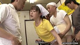 Sexy Japanese waitress Asuka gets gangbanged and creampied in public masha babko nude