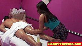 Busty asian spycam masseuse...