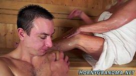 Jizz mouthed granny sauna...