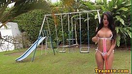 Bigtitted latina tgirl outdoors...
