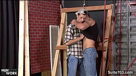 Fit gay worker getting...