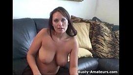 Busty Leslie masturbates with...