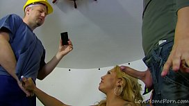 Lingerie-Clad Blonde Takes...