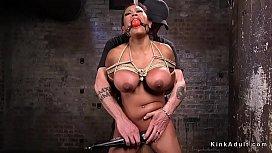 Huge tits slave made...