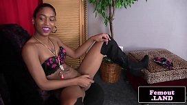 Ebony tgirl amateur stroking...
