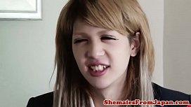 Ladyboy schoolgirl facialized after...