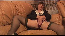 Hairy Granny in stockings...