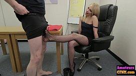 Naughty sexy blonde sucks...