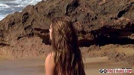 Monica Benz getting sand...