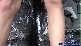 Busty russian tgirl uses...