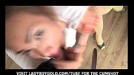 Yellow Stockings Ladyboy Anal...