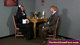 Celibate nun facialized after...