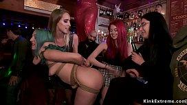 Blue haired slut banged in public bar
