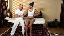 Fooled ebony massage jizz...