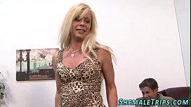 Trans slut rides cock...