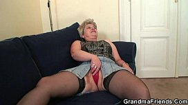 Granny takes two cocks...