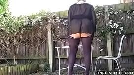 Stockings upskirt no panties...