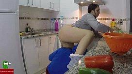 She cooks while she...