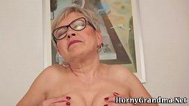 Mature granny gets cum...
