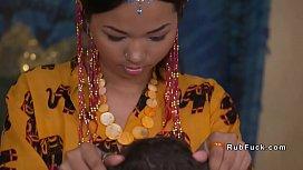 Asian yoga teacher licked...