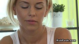 Brunette gets pussy massage...