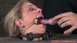 Busty restrained bdsm sub...
