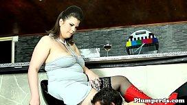 Fat stockinged femdom facesitting...