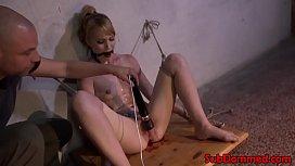 Blonde restrained bdsm sub...