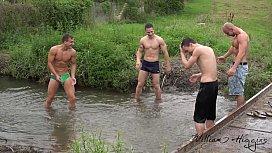 Foursome bareback fun out...