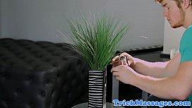 Smalltits glam beauty massaged on the sofa