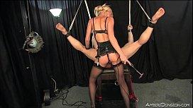 Petite blonde Mistress uses...