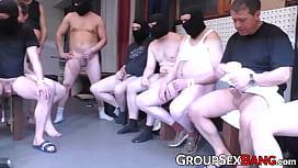 Hot German MILF gangbanged...