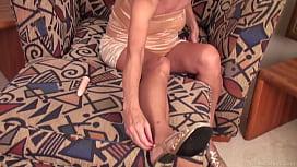 Skinny granny Nancy masturbating...